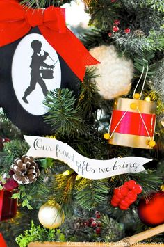 Little Drummer Boy Christmas Tree for Michaels Dream Tree Challenge by Kara Allen | Kara's Party Ideas KarasPartyIdeas.com #JustAddMichaels