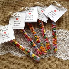 Test tube favours -Love is sweet - Wedding favours - Party favours - childrens favours by Melysweddings on Etsy