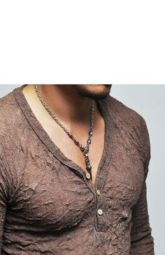 Tops :: Knits :: See-through Wrinkle Henley Button Knit-Knit 51 - Mens Fashion Clothing For An Attractive Guy Look