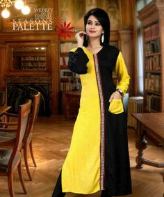 YELLOW & BLACK DESIGNER COTTON LONG KURTI Presenting designer long length cotton Kurti with Trendy Black & Yellow color, lovely neck designing and beautiful pattern and color combination is made to make it look appealing. Beautiful symmetric cut makes it trendy and stylish stylishbazaar.com