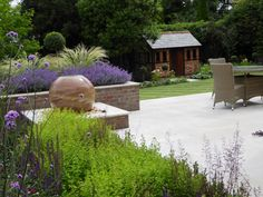 Andrea Newill offers a creative and practical garden design service throughout Berkshire, Hampshire, Oxfordshire, Wiltshire, Reading and Newbury. Sphere Water Feature, Limestone Paving, Cottage Patio, Aluminum Pergola, Contemporary Garden Design, Sloped Garden, Back Gardens, Water Features, Garden Inspiration