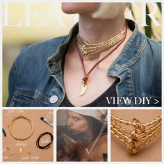 A unique combination of materials and textures make this Gold Cord and Leather Necklace DIY fun and on trend, with a step by step DIY tutorial with photos. Diy Earrings And Necklaces, Diy Necklace, Bracelets, Leather Chain, Leather Necklace, Leather Jewelry Tutorials, Diy Jewelry Inspiration, Creative Inspiration, Necklace Tutorial