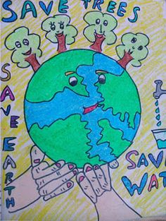 M Planet Drawing, Earth Drawings, Crayon Drawings, Scenery Drawing For Kids, Easy Drawings For Kids, Art For Kids, World Environment Day Posters, Environment Painting, Save Earth Drawing