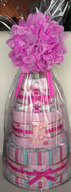 Nappy cake - girl (wrapped)