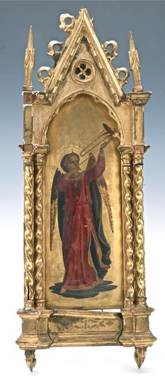 Framed Italian Gothic Angel Painting Oil & Gilt On A Wood Panel http://www.busaccagallery.com/catalog.php?catid=133&itemid=6283&page=1