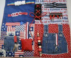 Patriotic, Americana Fabrics Fidget, Sensory, Activity Quilt Blanket by TotallySewn on Etsy