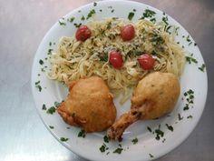 Talharim ao alho e óleo com frango frito ao tempurá!