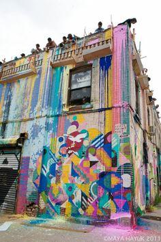 Maya Hayuk- Paint Pour Monster Island Brooklyn, sept 2011