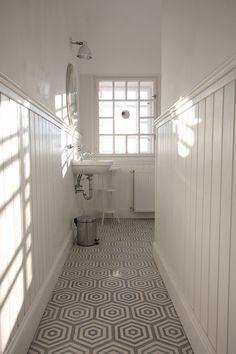 hexa rabat cement tiles combined with wooden wallpanels Cement Tiles, Marrakesh, Wooden Flooring, Tile Floor, Bathrooms, Bathtub, Modern, Wood Flooring, Standing Bath