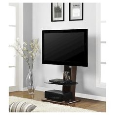Solar Tv Stand With Mount And Drawers For Tvs Up To 70 Wide Black
