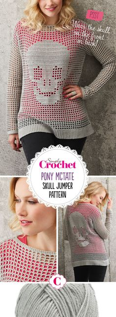 """Designer Pony McTate says: """"Looking for an edgier crochet project? Try this street-inspired top / jumper with its cool skull design. It's a straightforward make even if you're new to garments or filet crochet. Worked in breezy cotton, it has a loose fit for relaxed summer wear. And it's / reversible!"""" This is an amazing slouchy summery garment that can be worn time and time again."""
