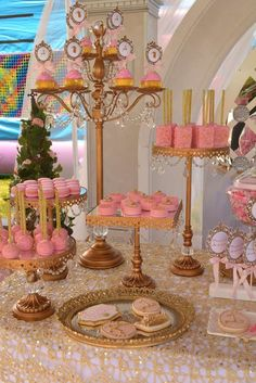 PInk and gold princess birthday party desserts! See more party ideas at CatchMyParty.com!