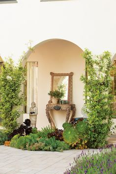 Glamorous garden with loggia, vines and succulents ~ Judy Kameon Landscape Design Beautiful Landscapes, Beautiful Gardens, Porches, Garden Design Magazine, Cactus Pictures, Drought Tolerant Garden, Mediterranean Garden, Garden Inspiration, Garden Ideas