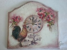 Clock with decoupage and cracle Ρολόι με decoupage και κρακελέ