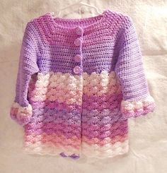 Crochet Cardigan Sweater Pink and Purple Spring by MrsFullersAttic