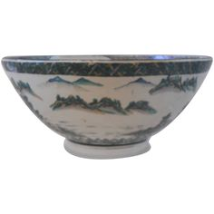 Monumental Chinese Porcelain Punch Bowl with Foo Lion Decoration | From a unique collection of antique and modern bowls and baskets at https://www.1stdibs.com/furniture/decorative-objects/bowls-baskets/