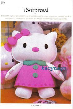 ARTESANATO COM QUIANE - Paps,Moldes,E.V.A,Feltro,Costuras,Fofuchas 3D: Hello Kitty com molde e passo-a-passo!