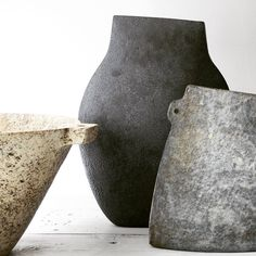 Group of extraordinary work in clay hand built by world renowned ceramicist Paul Philp. Now showing at Maud and Mabel.