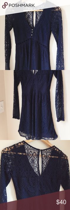 Navy delicate lace fit and flare mini dress ⋈ Hollister navy lace dress with flattering deep v neckline ⋈ Style is comparable to free People, anthropologie, for love and lemons, reformation, vintage style ⋈ Fit and flare style dress ⋈ Long sleeves with crochet lace design ⋈ Marked as a size 3, equivalent to US Women's Dress 2-4, US Women's XS-Small ⋈ Recommended for smaller bra sizes ⋈ Price is negotiable! Hollister Dresses