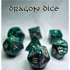 RPG Dice Set (Dragon Bones Green) role playing game dice