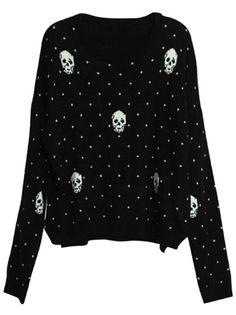 6c87a30676 Black Long Sleeve Polka Dot Skull Print Sweater - Sheinside.com  SheInside  Skull Print