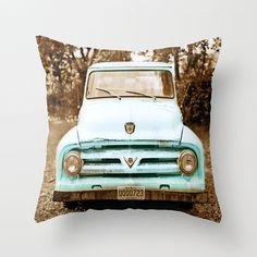 Teal Truck Pillow Cover Vintage Decor Rusted by HappyPillowShop, $37.00