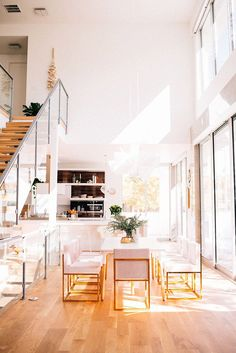 Sunlit dining area - gold accents