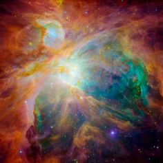 Beautiful Infrared Astronomy from the Spitzer Space Telescope Spitzer teamed up with the Hubble Space Telescope to peek in on at the Orion Nebula for this composite infrared and visible light image.