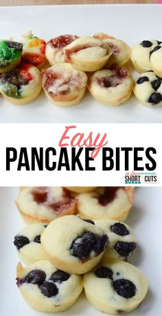 Make this Easy Pancake Bites Recipe! Make them ahead a… Quick & Simple Breakfast! Make this Easy Pancake Bites Recipe! Make them ahead and freeze them, even make them gluten free! Pancake Bites, Pancake Muffins, Egg Free Muffins, Pancake Squares, Pancake Mix Uses, Pancake Dessert, Pancakes Easy, Paleo Pancakes, Camping Pancakes