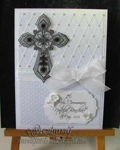 First Holy Communion card, glittered cross medallion on transparency film.