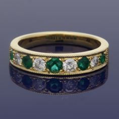 18ct Emerald & Diamond Eternity Ring £1,095.00 Wedding Bands, Our Wedding, Eternity Ring Diamond, Gold Art, Emerald Diamond, Metal, Bracelets, Rings, Jewelry