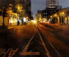 Jeremy Mann (San Francisco) 'Evening Lights on Market Street'