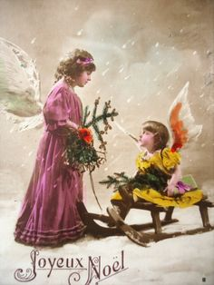 Antique Christmas postcard  Two angel girls by LizKnijnenburg