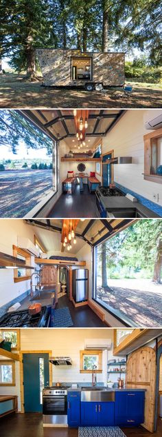 Built by Portland, Oregon-based Tiny Heirloom, this custom 28' tiny house features an exterior climbing wall and a garage door picture window.