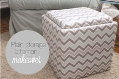 A milk crate and anything hard and square for the lid. Just cover both in the same fabric and you have a storage ottoman.