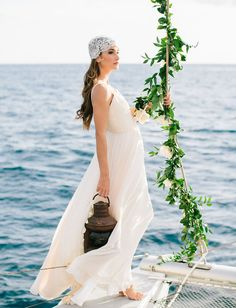 Ethereal Sailboat Wedding Inspiration + A Photography Giveaway! greenery rope garland 'Ethereal' by Opihi Love // sailboat wedding inspiration, destination wedding, Maui wedding. Photographer Mirelle Charmichael Styling by Opihi Love Boat Wedding, Yacht Wedding, Cruise Wedding, Greek Wedding, Wedding Bride, Destination Wedding, Wedding Shit, Seaside Wedding, Wedding Ideas