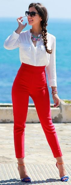#spring #streetstyle | White Shirt + High Waist red Pants | Silvia Navarro                                                                             Source