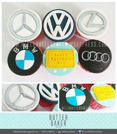 Cupcake set with Mercedes, Audi, Lexus and BMW car logo. Fondant Cupcakes, Cupcake Cookies, Car Cupcakes, Themed Birthday Cakes, Themed Cakes, Mechanic Cake, Second Birthday Boys, Little Boy Cakes, Mercedes Logo