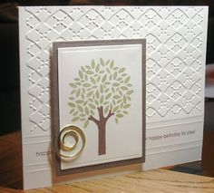 handmade greeting card ... clean and simple ... embossing folder Argyle textures ... hand embossed design lines ... simple stamped tree on focal panel ... great card!!