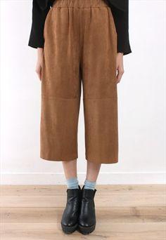 Faux Suede Wide Leg Cropped Pants