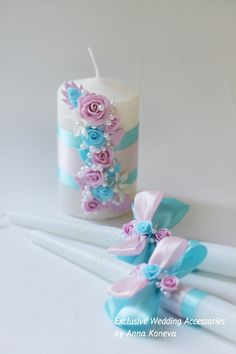 Blue Pink Wedding Candle Set of 3 Unity Wedding Candle Wedding
