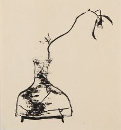 Orchid on vase by Ba Da Shen Ren