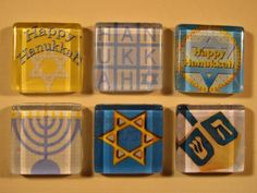 Hanukkah Decorations Refrigerator Magnets Set of 6 with Storage Tin. via Etsy.