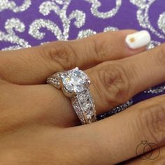 3060723605fb6 RB Signature 14K White Gold Diamond Engagement Ring Setting 1 1/4 Cttw