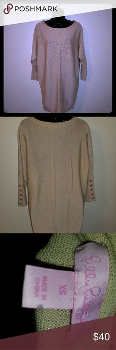 Lilly Pulitzer Gold sweater Gold sweater, stops at thigh, gold buttons on the back of the sleeve Lilly Pulitzer Tops