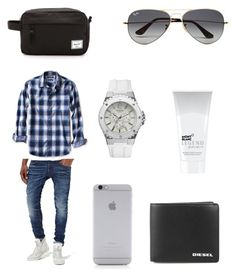 """""""men's fashion"""" by nelliejennings on Polyvore featuring G-Star Raw, GUESS, Diesel, Montblanc, Ray-Ban, Banana Republic, Native Union, Herschel Supply Co., mens and men"""