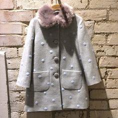Sweet dotty textured wool coat at Jigsaw Junior for cool kidswear fall/winter 2015