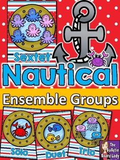 """This kit contains 8 colorful visual definitions of ensemble groupings using an nautical theme. Each one contains a grouping word like """"solo"""", """"trio"""" or """"octet"""" with a coordinating number of sea creatures. This display would be a great resource to leave up all year. Kindergarten Music, Preschool Music, Music Classroom, Classroom Decor, Elementary Music, Upper Elementary, Sixth Grade, Second Grade, 2nd Grade Music"""
