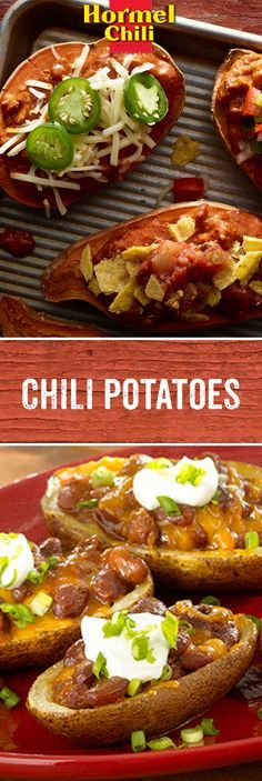 A potato without chili in Chili Nation is like a zebra without stripes. We've never seen one. But here's 2 majorly loaded potato recipes we have seen. | Chili Potato Skins | Chili Stuffed Sweet Potatoes | Loaded Potatoes | HORMEL® Chili | Lunch | Dinner | Quick and Easy Meals | Tailgating Recipes |