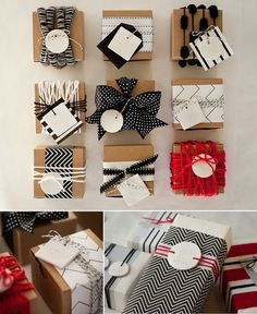 cute alternative red black and silver wrapping ideas... easy brown packing paper rolls and burlap incorporated!